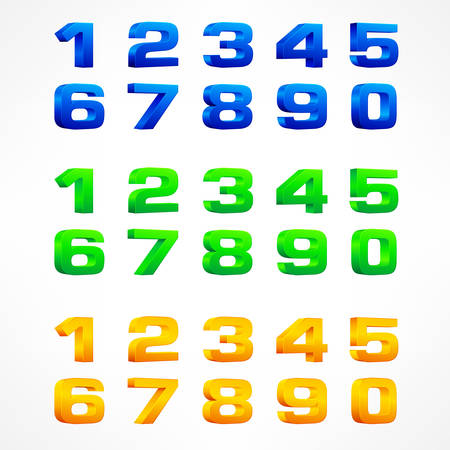 Alphabet isometric numbers, set of numbers from 1 to 0 color on white. illustration. Illustration