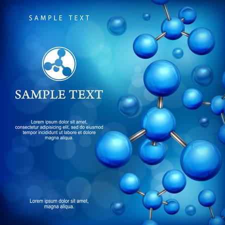 Molecule blue background, science molecular structure, atom. Business teamwork concept, illustrations. Illustration