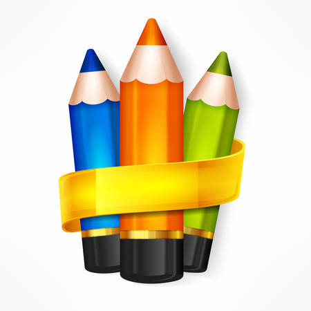 crayons: Color rainbow wooden pencils and ribbon, set of pencil for school and office, colored crayons concept, illustration