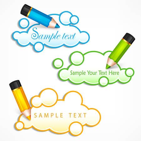 talking cartoon: Pencils and cloud speech bubbles, creative concept for presentation, business idea symbols & text, illustration. Illustration