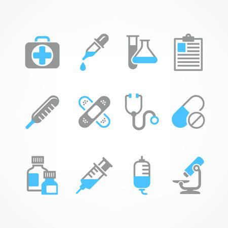 medical symbols: Medical icons on white background, medicine symbols in blue, medical illustration Illustration