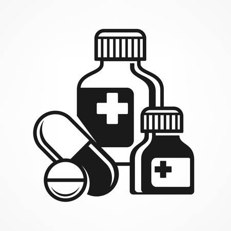 medical symbols: Medicines pills symbols, medical icons on white, medical illustration
