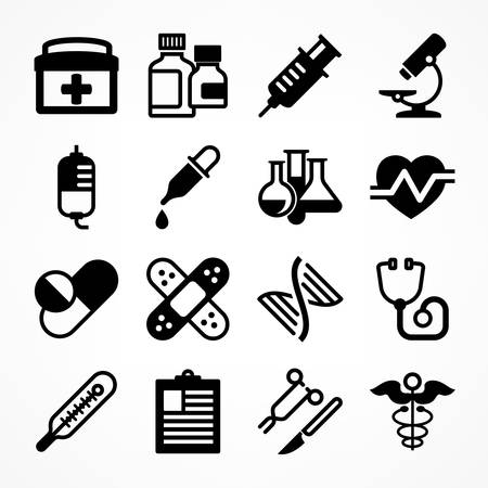Medical icons on white background, medicine symbols in grey, medical illustration