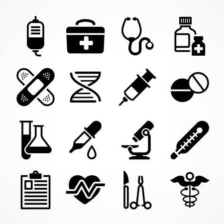 medical symbols: Medical icons on white background, medicine symbols in grey, medical illustration