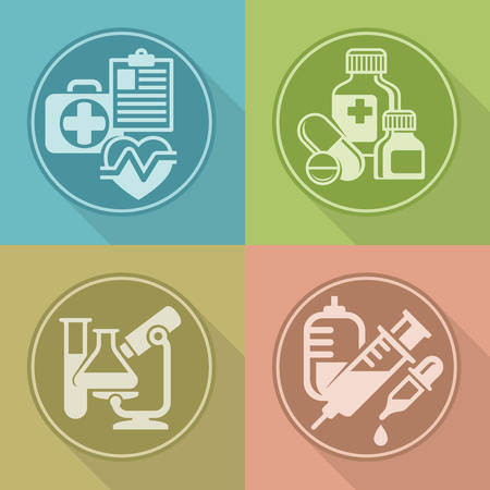 medical symbols: Set of medical symbols on color background, medicine icons, medical illustration