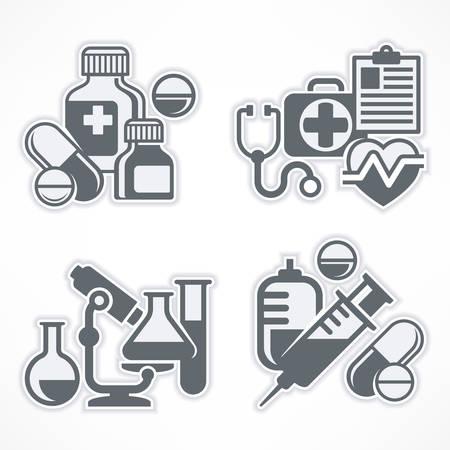 medical symbols: Set of medical symbols on white, medicine icons in grey, medical vector illustration