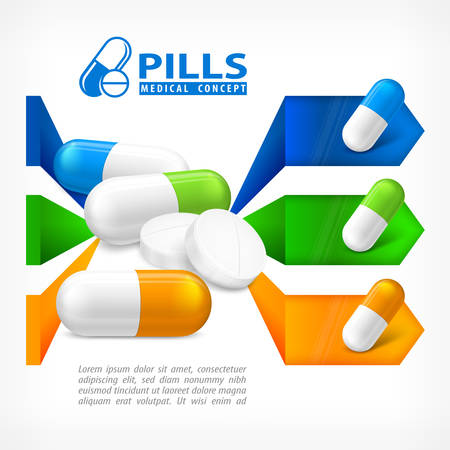 medical signs: Medical pill infographic with medicine signs elements for hospital and pharmacy presentation, vector illustration on white Illustration