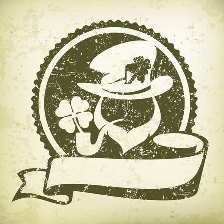 cartoon shamrock: Irish leprechaun circle logo for grange greeting card of St. Patricks day. Leprechaun face in round with ribbon. Vector illustration Illustration