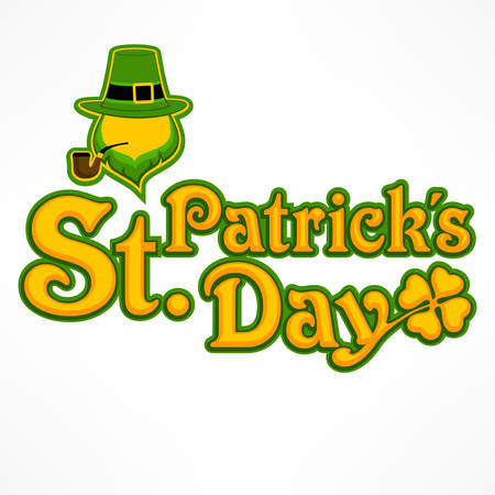 Irish leprechaun lettering logo for greeting card of St. Patricks day. Leprechaun face and inscription text on white. Vector illustration Illustration