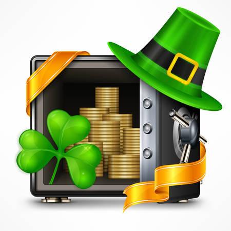 St. Patrick`s Day symbols, hat, clover, and gold coins in safe. National Irish Patrick day design elements. Vector illustration Illustration