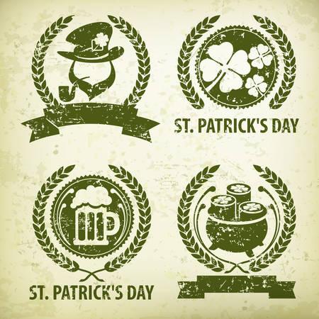 St. Patrick`s Day symbols, leprechaun, clover, beer and treasure grange. National Irish Patrick day design elements. Vector illustration
