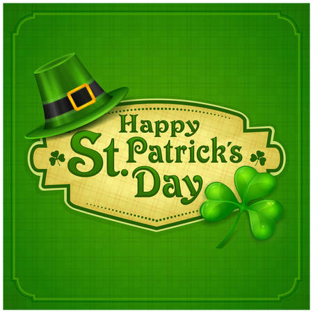 st patricks party: St. Patrick Day poster. Patrick`s day hat and clover design elements with wishing lettering on green. Vector illustration