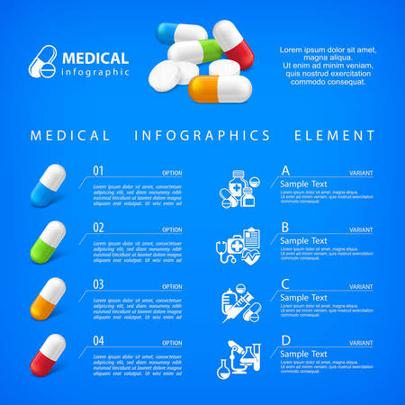 medical signs: Medical pill infographic with medicine signs elements and text for hospital and pharmacy presentation, vector illustration on blue