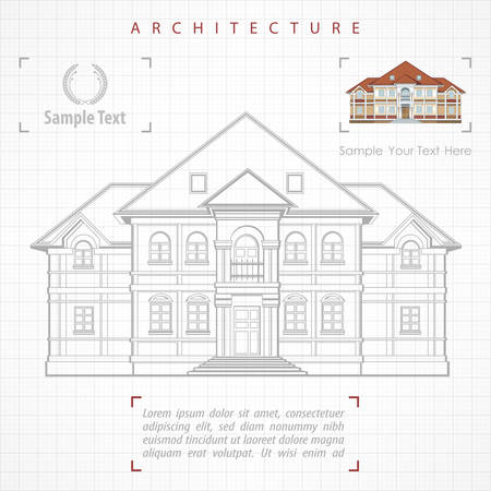 specification: Architectural plan of building facade with terrace, cottage drawing with detailed specification, vector illustration on white