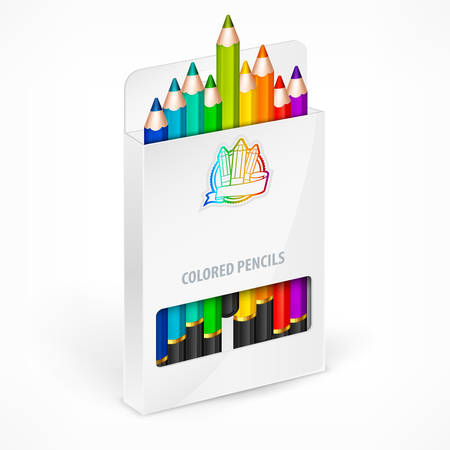 wooden color: Color rainbow wooden pencils in white box, set of pencil for school and art, colored crayons concept, vector illustration Illustration