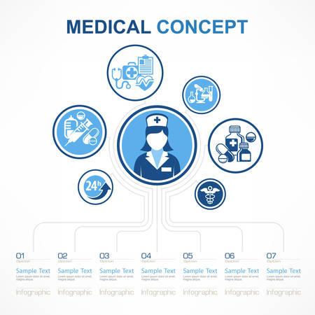 Medical nurse concept, medicine symbol and infographic elements around nurse in blue, vector illustration