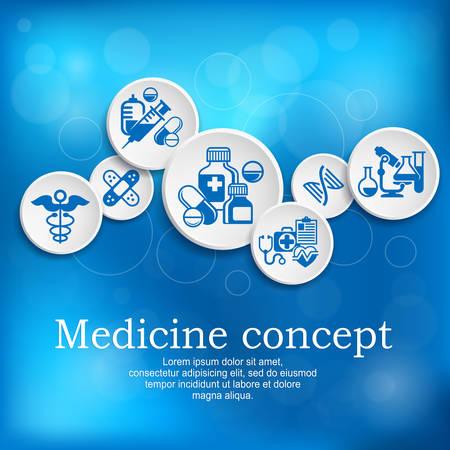 simbolo medicina: Concepto médico, símbolo de la medicina y los elementos infográficos con el texto en azul Poster presentado en el hospital, ejemplo, vector Vectores