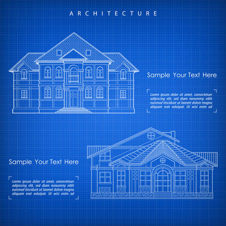 specification: Architectural plan of building facade with terrace, cottage drawing with detailed specification, vector illustration on blue Illustration