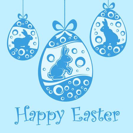 osterei: Hängende Ostereier und Kaninchen im Blau. Ornament Eier für Ostern Design & Beschriftung. Vektor-Illustration