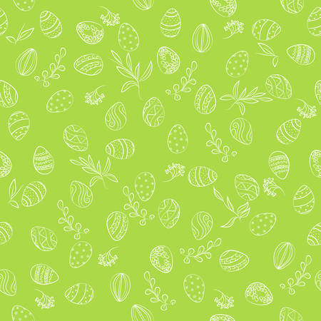 Easter eggs & floral pattern. Easter seamless pattern with eggs ornamental. Easter holiday green background, hand drawn vector illustration