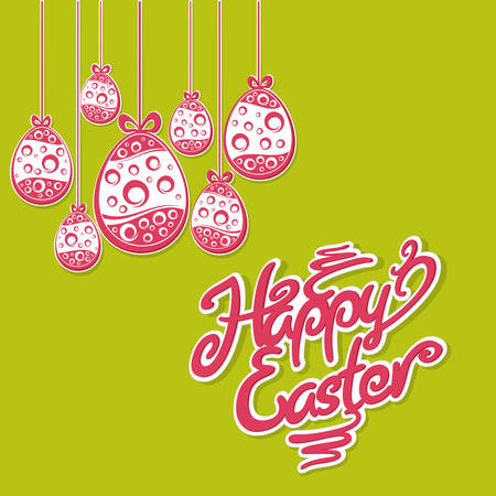 pascuas navideÑas: Hanging Easter red eggs and lettering on green. Ornament eggs for Easter holiday design. Vector illustration Vectores