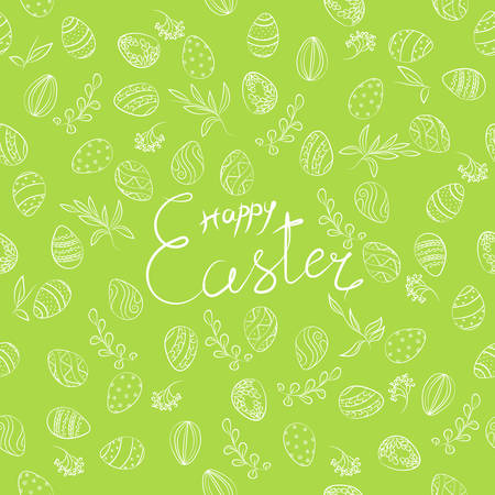 Easter pattern with eggs, lettering & floral on green. Spring holiday background, hand drawn vector illustration