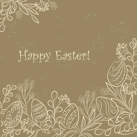Easter frame with easter eggs and plants, hand drawn  grange background. Vector illuastration