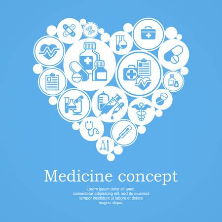 medical symbols: Medical icons heart concept, medicine symbols in heart pattern, medical vector illustration on blue Illustration