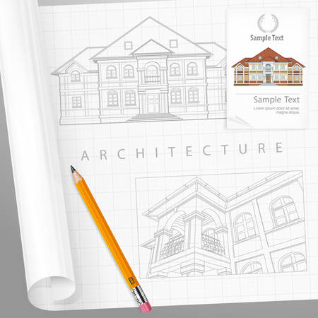 drawing paper: ?rchitect drew plan of building facade with terrace and made calculations, cottage drawing with detailed specification on paper