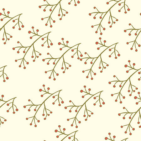fruit stem: Seamless floral pattern with berry branch on pastel. Hand drawn background, vector illustration Illustration