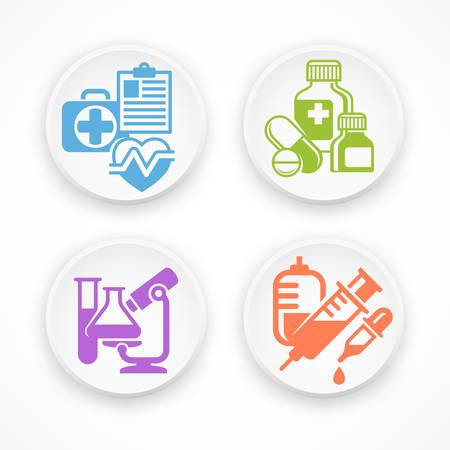 medical symbols: Set of medical symbols in white round icons, medicine vector illustration Illustration