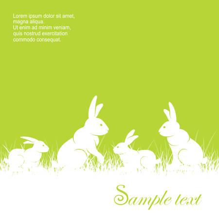 Coelhos em grama e texto, silhueta de coelhos diferentes sobre fundo verde, ilustração vetorial animal para fazenda e fazenda