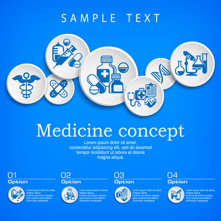 simbolo medicina: Medical concept, medicine symbol and infographic elements with text on blue, hospital presentation poster, vector illustration Vectores