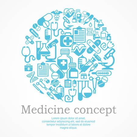 medical symbols: Medical icons blue background, medicine symbols in circle pattern, medical vector illustration