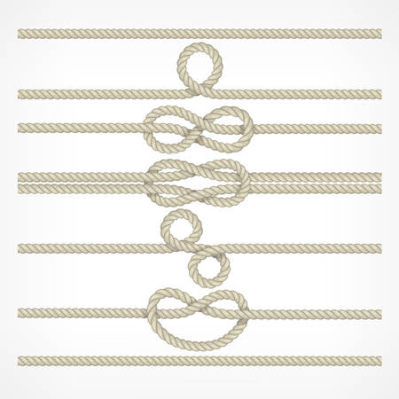 hank: Set of different knots and loops on ropes on white, nautical collection vector illustration