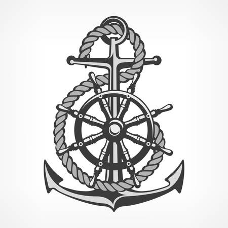 Anchor with rope and steering wheel, nautical symbols on white, vector marine illustration