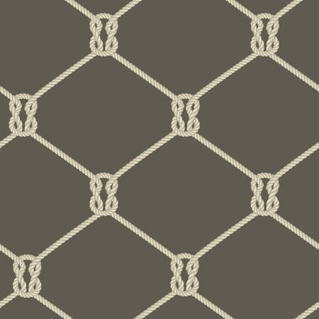 ロープの背景、結び目ロープのシームレスなパターン、航海のベクトル図