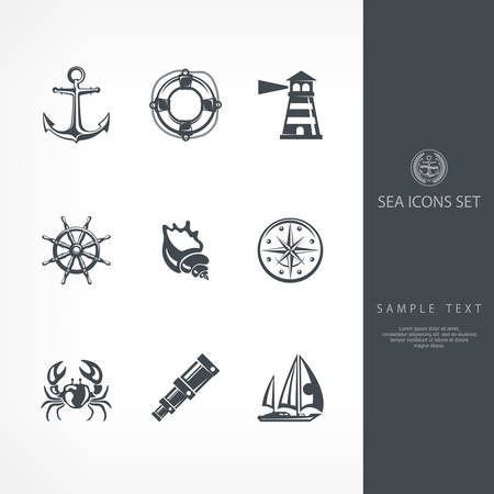 compass rose: Nautical objects and icons for marine labels and logos, vector nautical illustration Illustration