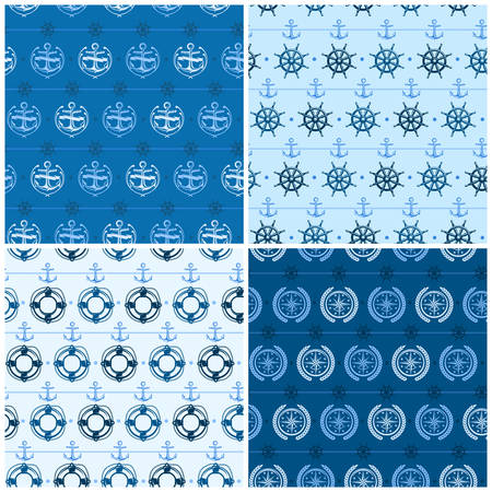 compass rose: Nautical background, seamless white blue pattern, vector marine illustration.