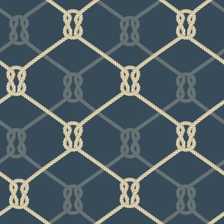 ロープの結び目ロープ シームレス パターン青、航海のベクトル イラスト背景