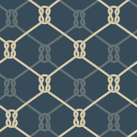 Ropes background, knotted rope seamless pattern blue, nautical vector illustration Illustration