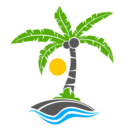 Tropical palm trees with green leaves and coconuts with sun. Vector illustration