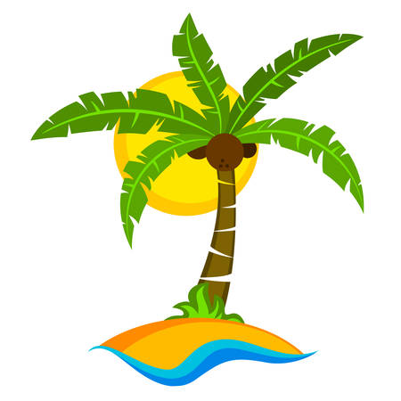crone: Tropical palm trees with green leaves and coconuts with sun. Vector illustration