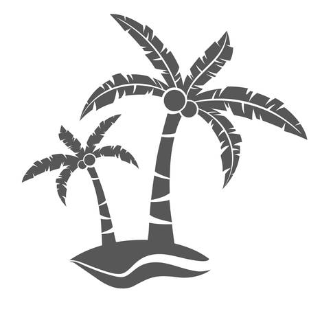 Tropical grey palm trees with leaves and coconuts on white. Vector illustration