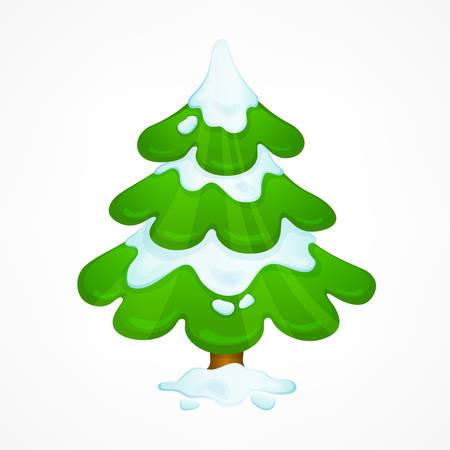 雪とクリスマスグリーンツリー、漫画新年のシンボル、ベクトルイラスト