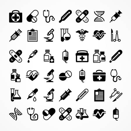 Set of medical icons on white, medicine symbols in black, medical vector illustration