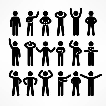 Collection of stick figures with different poses, human icon symbol sign, vector illustration Иллюстрация