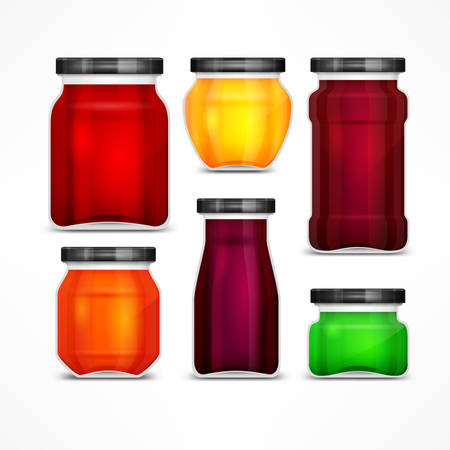 Set of natural jam preserves glass jars and metallic lids, isolated on white, vector illustration