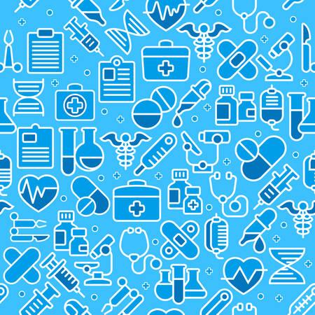 Medical line icons background, medicine symbols in blue, medical vector illustration.