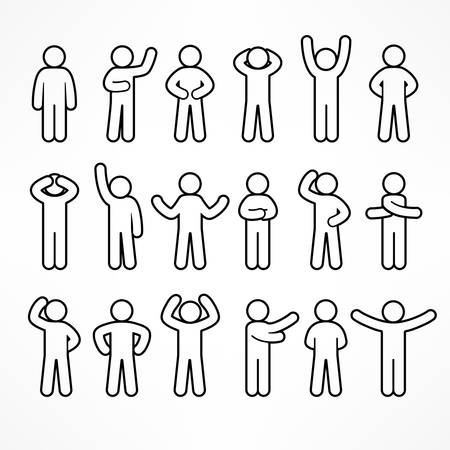 Collection of stick linear figures with different poses, human icon symbol sign, vector illustration Vettoriali